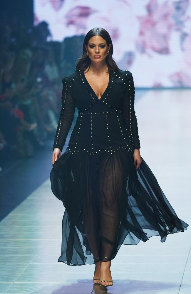 Ashley Graham, wearing a studded desss by Melbourne designer Thurley, at VAMFF last night. Picture: AAP