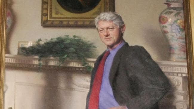 Bill Clinton Portrait Monica Lewinsky S Blue Dress In Shadow