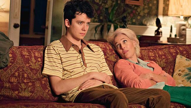 Gillian Anderson and Asa Butterfield in Sex Education.