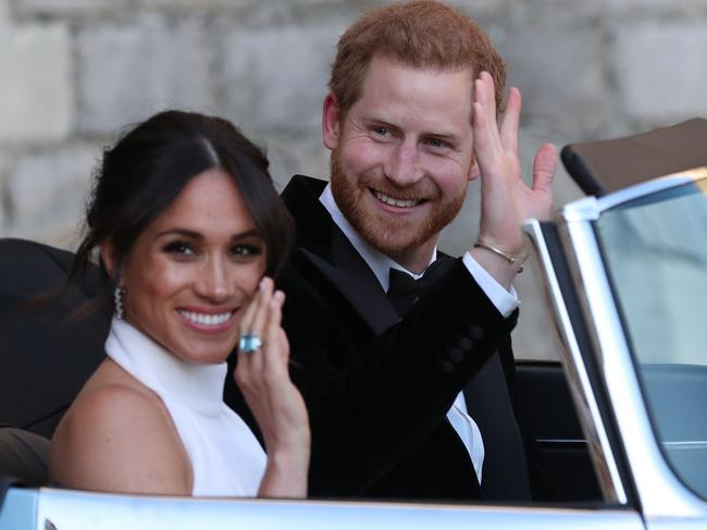 The giant bling on Meghan's finger hadn't been seen since Diana's death. Picture: Steve Parsons — WPA Pool/Getty Images