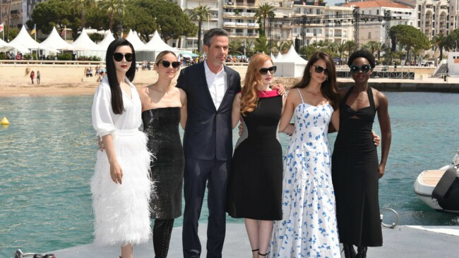 The stars of 355, Jessica Chastain, Marion Cotillard, Penelope Cruz, Fan Bingbing and Lupita Nyong'o, with the director, Simon Kinberg. Photo: Getty