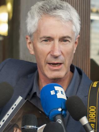 Anthony Foster, talks to the press after abuse survivors met Cardinal George Pell. Picture: David Mirzoeff / i-Images