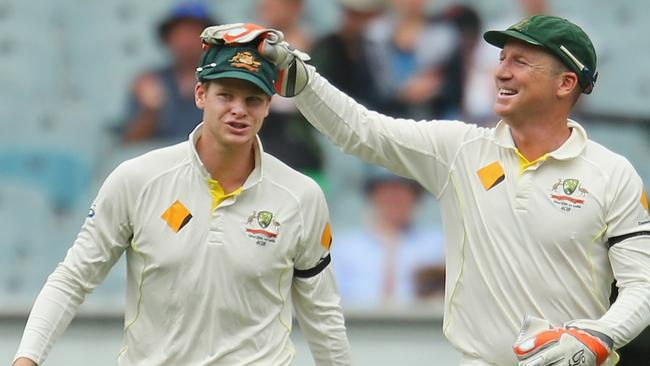 Steven Smith and Brad Haddin during the Third Test match between Australia and India at the MCG. Picture: Scott Barbour/Getty Images