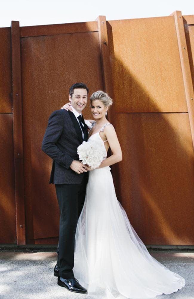 Country music star Sam McClymont with husband Ben Poxon on her wedding day.