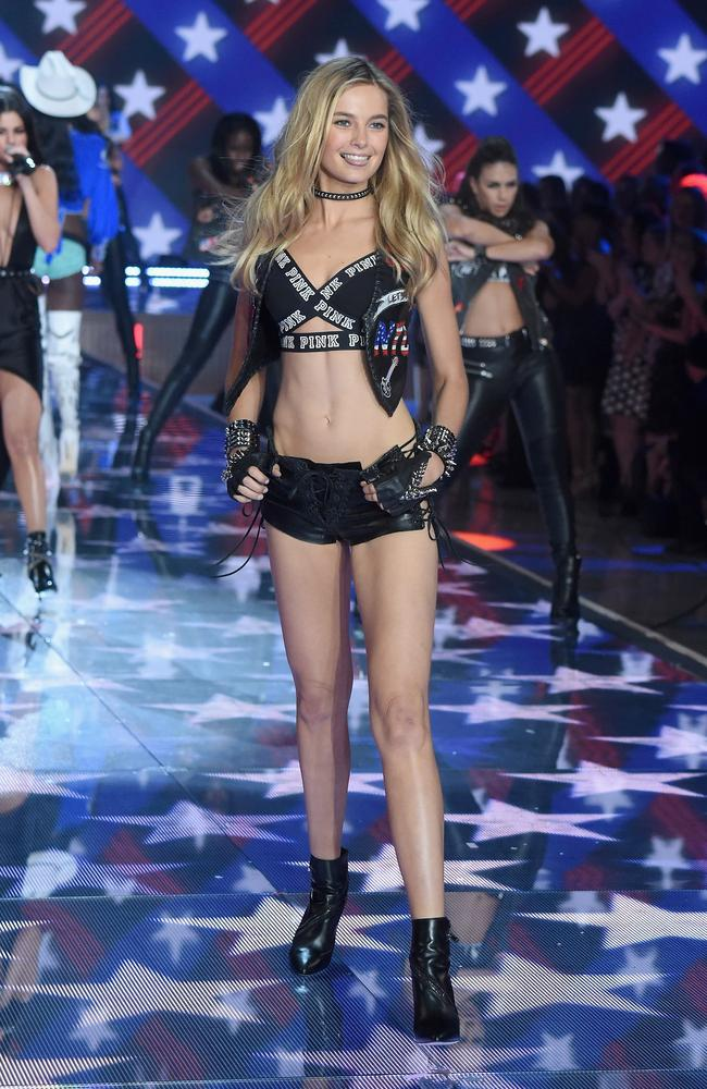 Model Bridget Malcolm from Australia walks the runway during the 2015 Victoria's Secret Fashion Show. Picture: Jamie McCarthy/Getty Images.
