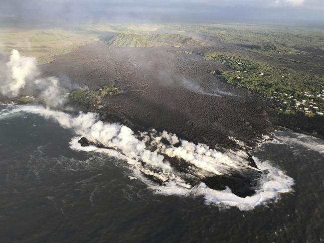 Lava destroyed hundreds of homes in Hawaii on Monday night, a county spokeswoman said. Picture: US Geological Survey via AP