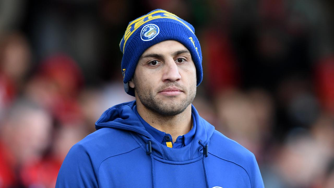 Blake Ferguson of the Eels seen on the bench during the Round 20 NRL match between the St George Illawarra Dragons and the Parramatta Eels at Netstrata Jubilee Stadium in Sydney, Sunday, August 4, 2019. (AAP Image/Joel Carrett) NO ARCHIVING, EDITORIAL USE ONLY