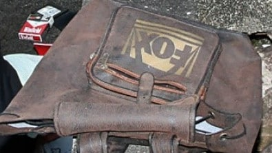 A satchel found next to the body of a man discovered at Poona Dam in 2008