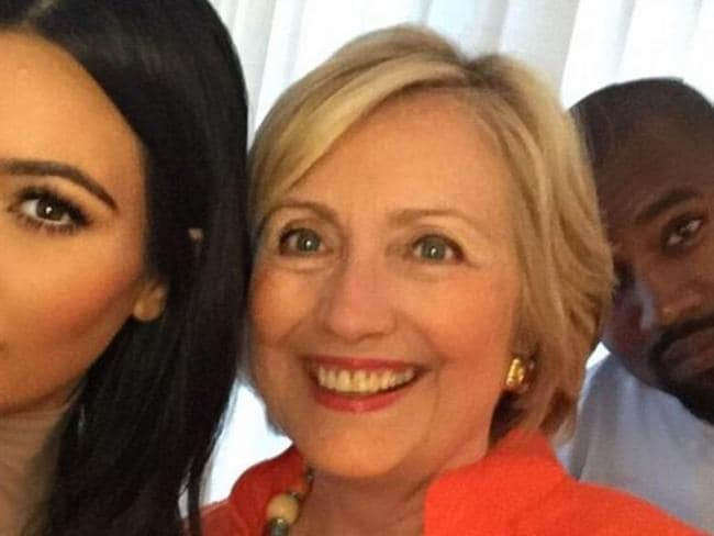 Kim Kardashian and Kanye West with Hillary Clinton. West is apparently now not a fan. Picture: Instagram