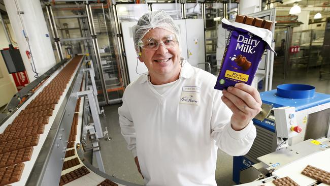Dairy Milk blocks coming off the line in Hobart. Picture: Chris Kidd