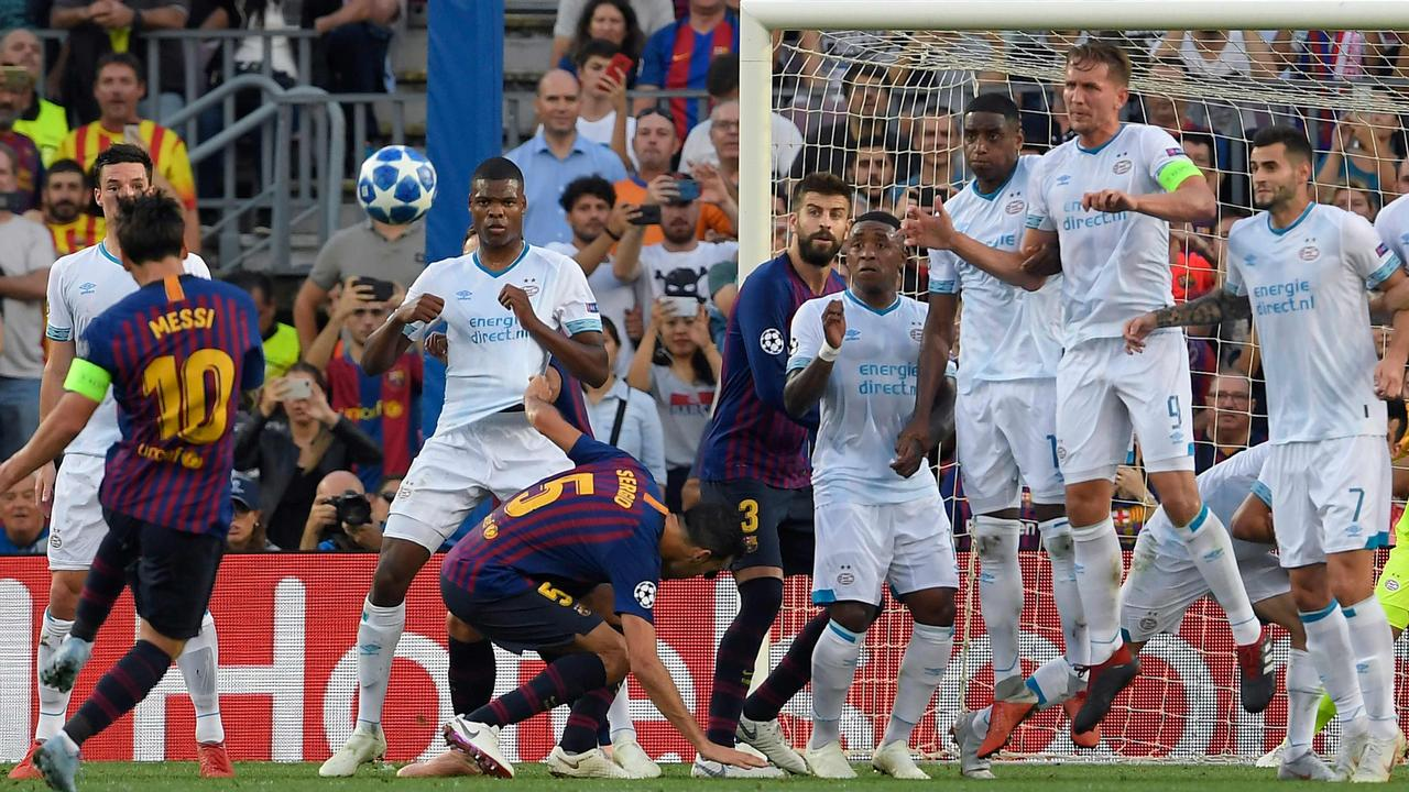 Champions League Barcelona Beat Psv Lionel Messi Scores Results Highlights Fox Sports