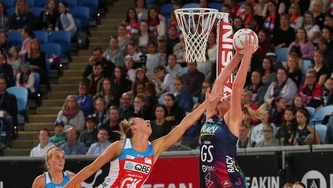 The Vixens' Caitlin Thwaites catches the ball during the defeat to the Swifts. Picture: Getty