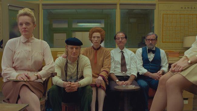 Elisabeth Moss, Owen Wilson, Tilda Swinton, Fisher Stevens and Griffin Dunne play staffers at the fictional magazine