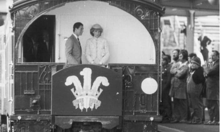 Prince Charles and Princess Diana aboard the special state coach Royal Train en route to Ballarat, Victoria. Picture: SuppliedSource:News Limited