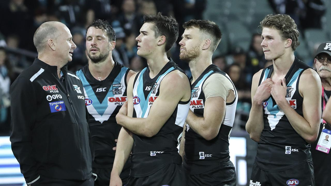 Port Adelaide is two wins away from winning a premiership. Photo: Sarah Reed.