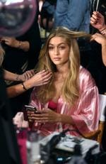 Gigi Hadid is seen backstage before the 2015 Victoria's Secret Fashion Show at Lexington Avenue Armory on November 10, 2015 in New York City. Picture: Getty