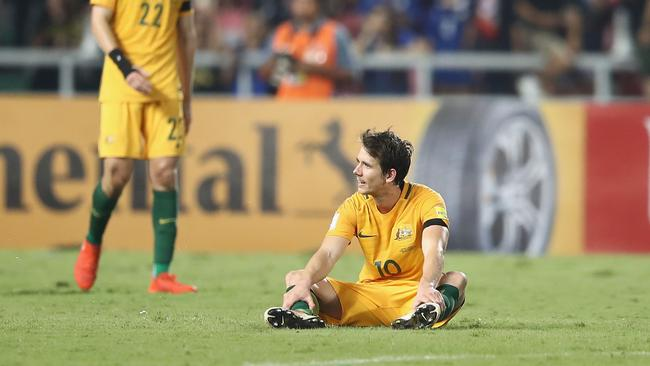 Robbie Kruse of the Socceroos looks dejected after a 2-2 draw in the 2018 FIFA World Cup Qualifier match against Thailand.