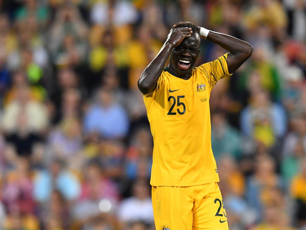 Awer Mabil of the Socceroos reacts after a missed shot at goal during the International friendly match between Australia and the Korea Republic at Suncorp Stadium, in Brisbane, Saturday, November 17, 2018. (AAP Image/Darren England) NO ARCHIVING, EDITORIAL USE ONLY