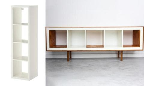 """This blogger had a plain white bookshelf from IKEA lying around the house, and instead of chucking it out, she glued on some maple-stained wood finishes and added some legs.  <p>With just a little bit of effort, she had herself a new sideboard!<a href=""""http://www.ikeahackers.net/2013/10/ex-ikea-upright-bookcases-now-mid-century-modern-sideboards.html"""">See how they did it</a></p>"""