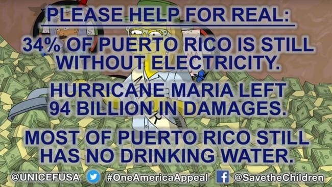The Simpsons clip ends on a more serious note, asking for people to donate to Puerto Rico. Picture: YouTube/Animation on Fox