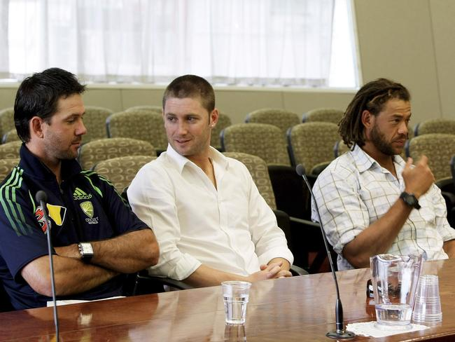 Ricky Ponting, Michael Clarke and Andrew Symonds pictured at the hearing into Singh's code of conduct breach hearing.