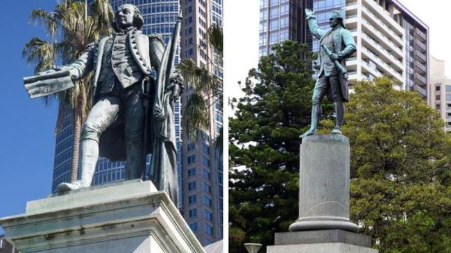 Statues of Captain Arthur Phillip and Captain Cook in Hyde Park.