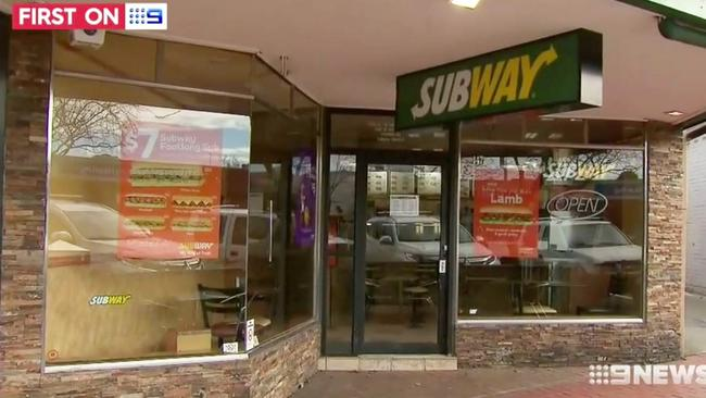 The Croydon subway store that was targetted by the couple in Melbourne. Picture: Channel 9