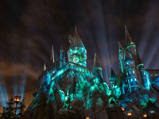 Nighttime lights at Hogwarts Castle at Universal Studios Hollywood. Picture: Universal Studios Hollywood