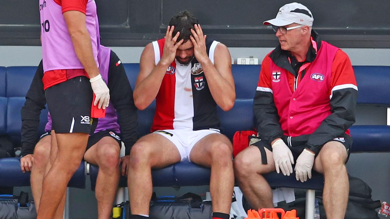 McCartin's reaction after his latest concussion, suffered in the pre-season. (Photo by Scott Barbour/Getty Images)