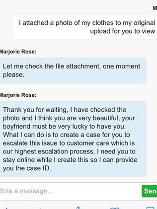 The exchange Ms Nathan had with a Jetstar Customer Service representative (blue text) through the airline's chat portal.