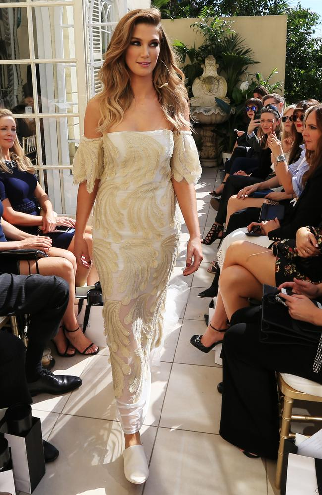 Delta Goodrem stole the fashion show, closing Carla's spring summer collection show in Sydney's Woollahra. Picture: Toby Zerna