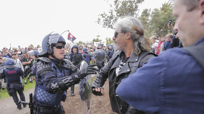 Police clash with protesters. Picture: Wayne Taylor