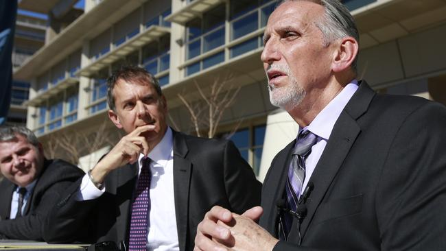 Mr Coley, pictured with lawyers Ron Kaye and Nick Brustin, has been declared innocent. Picture: AP Photo/Rich Pedroncelli