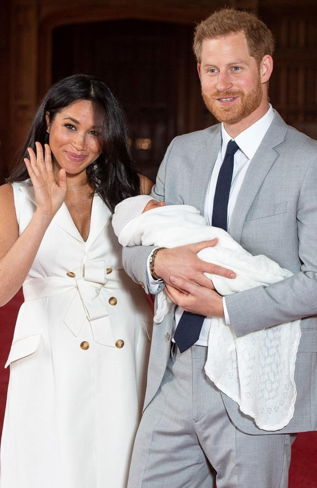 Meghan Markle with Prince Harry and their newborn son. Picture: Dominic Lipinski/AFP