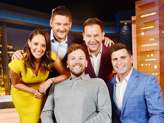 """The cast of the new Channel 9 Footy Show: Neroli Meadows, Brendan Fevola, Anthony """"Lehmo"""" Lehmann, Dylan Alcott and Shane Crawford. Picture: Nicki Connolly"""