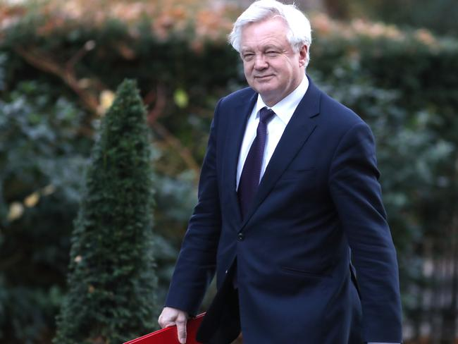 Britain's Secretary of State for Exiting the European Union (Brexit Minister) David Davis arrives for the meeting at 10 Downing street in London.