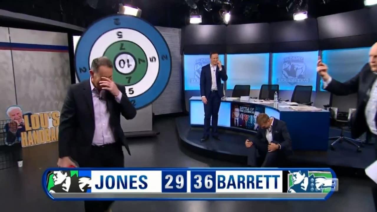 Tony Jones reacts to his airball handpass.
