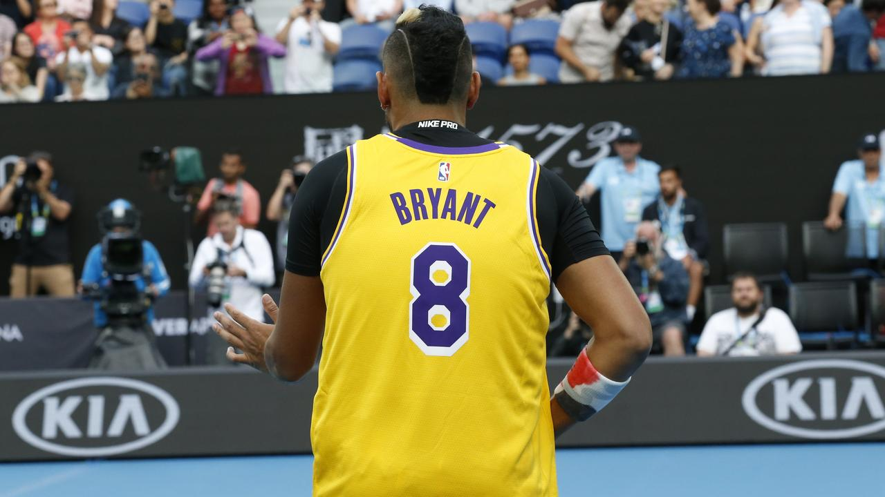 Nick Kyrgios wore a Kobe Bryant jersey on court before his match with Rafael Nadal. Picture: David Caird