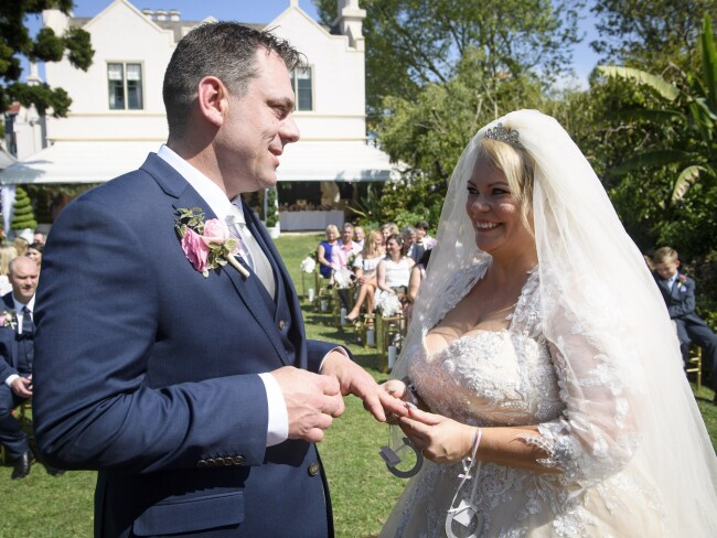 Jo and Sean meet for the first time on their wedding day. Photo: Channel 9