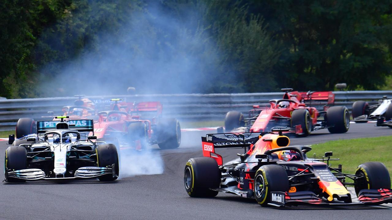 Bottas again locks up at the Hungaroring.