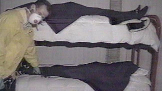 Heaven's Gate cult members, found dead in their bunk beds. Picture: Channel 9