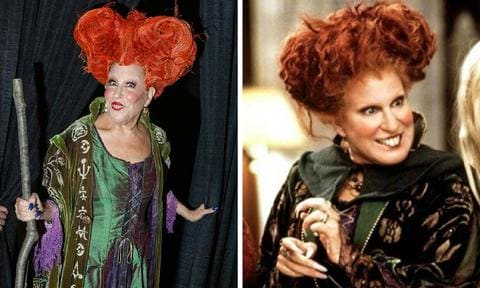 <b>Bette Midler - Hocus Pocus</b>  <p>Midler was and will always be Winifred Sanderson. And she proved just that when she brought the role back to life at a dress-up party in 2016. It may not be the exact same outfit but we're a fan of the witchy-blue nails.</p>