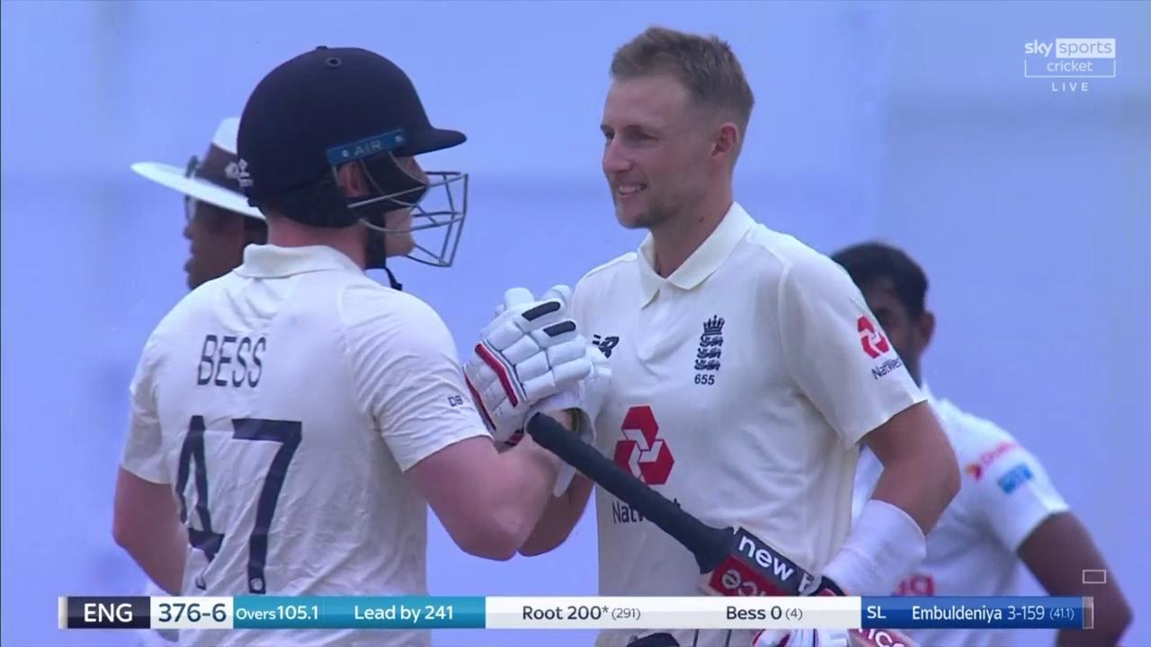 Joe Root celebrates his double century against Sri Lanka.