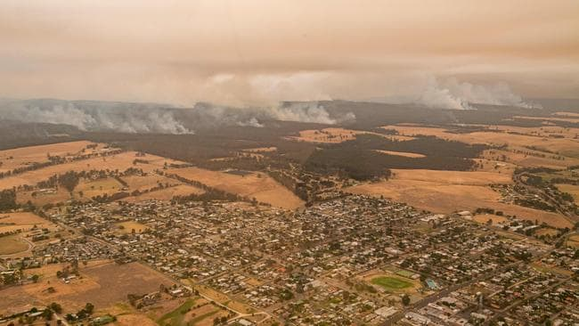 The township of Orbost under threat in early January. Picture: Jason Edwards