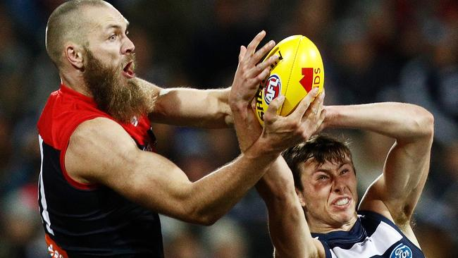 Max Gawn of the Demons and Jack Henry of the Cats contest the ball during their Round 18 clash. Picture: Daniel Pockett/AFL Media/Getty Images