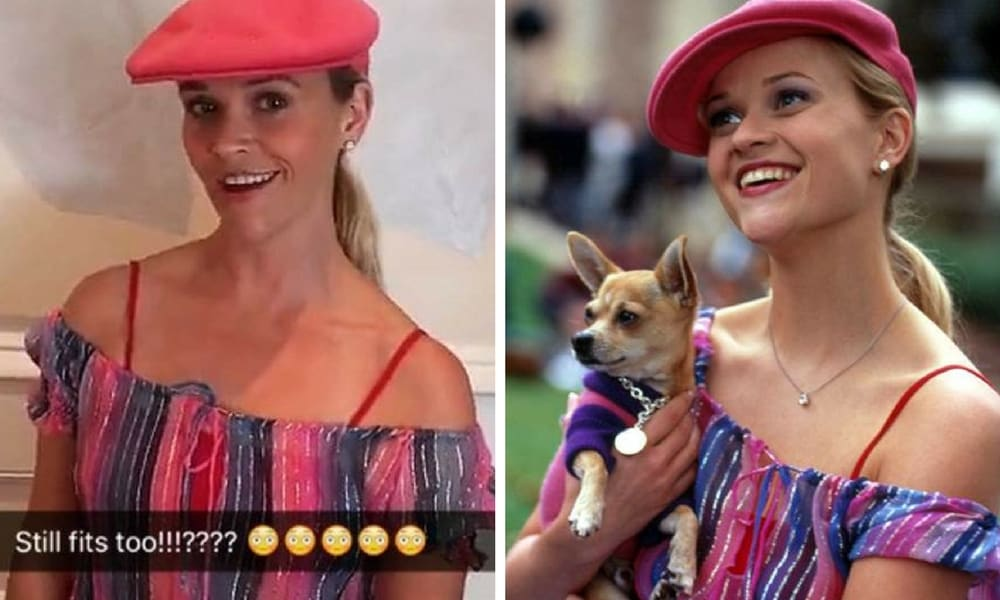 <b>Reese Witherspoon - Legally Blonde</b>  <p>Witherspoon dug this one out of the drawer to celebrate the iconic movie's 15th anniversary, and in doing so proved that she has not aged and a day since the film was first released. All she needs is another little Bruiser. </p>