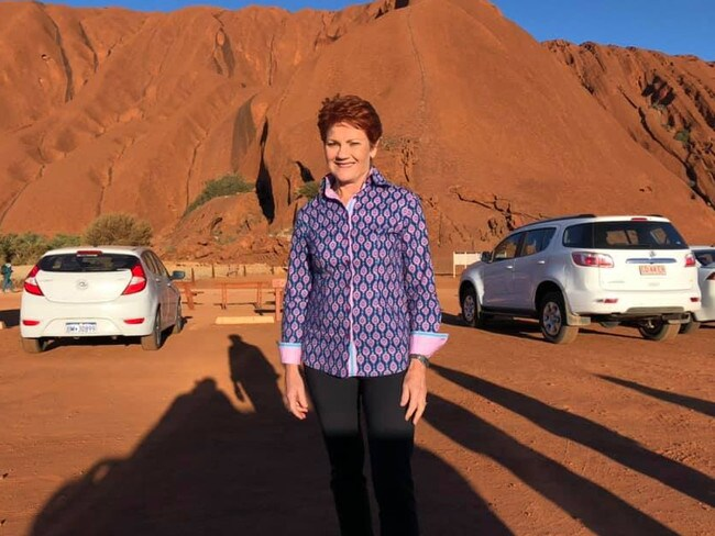 Pauline Hanson at Uluru. Picture: Facebook
