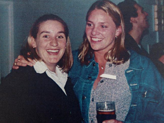 Keli Lane (left) and Olympian Taryn Woods at Woods' 21st birthday party in 1996. Picture: Supplied