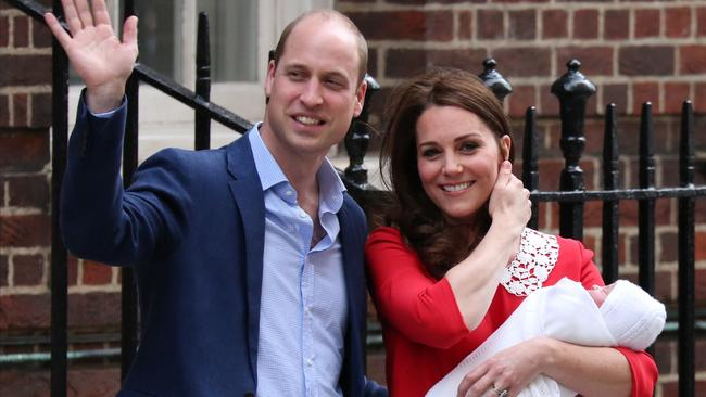 William and Kate waving to media outside St Mary's Hospital, just hours after the birth of Prince Louis last year. Picture: Isabel Infantes/AFP