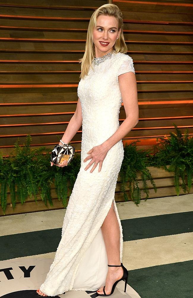 Naomi Watts, who received high marks from the fashionistas for her Oscars gown, joins the Vanity Fair party. Picture: Getty Images